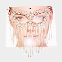 Crystal Round Rhinestone Pave Cat Eye Pave Mask