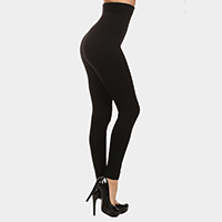 High Waist Compression Cotton Leggings With French Terry