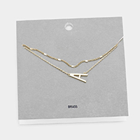'A' Monogram Brass Metal Necklace