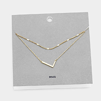 'L' Monogram Brass Metal Necklace