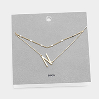 'N' Monogram Brass Metal Necklace