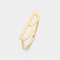 'B' Monogram Brass Metal Ring