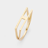 'H' Monogram Brass Metal Ring