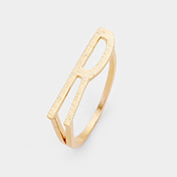 'R' Monogram Brass Metal Ring