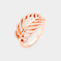 Rose Gold Plated CZ Pave Leaf Ring