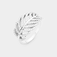 Rhoudium Plated CZ Pave Leaf Ring