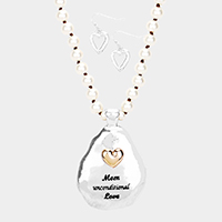 'Mom Unconditional Love' Heart Oval Pendant Long Necklace