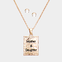 'Mother & Daughter' Rectangle Metal Pendant Necklace