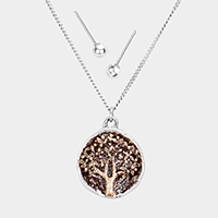 Hammered Metal Round Tree of Life Pendant Necklace