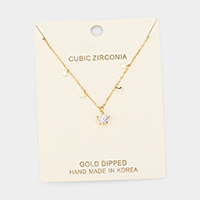 Gold Dipped Cubic Zirconia Pave Star Pendant Necklace
