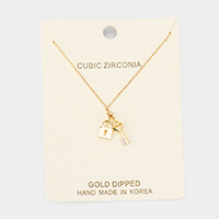 Gold Dipped Cubic Zirconia Key Lock Pendant Necklace