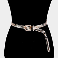 5Lines Buckle Accented Crystal Rhinestone Pave Chain Belt