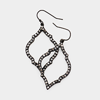 Pave Embellished Cut Out Quatrefoil Earrings