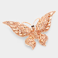 Glass crystal butterfly brooch
