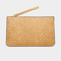 Metal Embellished Faux Leather Clutch Bag