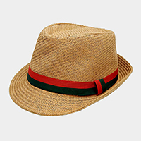 Color Block Ribbon Trim Straw Fedora Hat