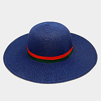 Color Block Ribbon Trim Paper Floppy Sun Hat