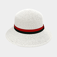 Color Block Ribbon Trim Paper Bucket Hat