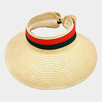 Color Block Ribbon Trim Paper Visor Hat