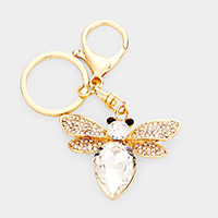 Pave Crystal Teardrop Honey Bee Key Chain