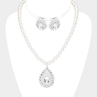 Pave Crystal Teardrop Pearl Pendant Necklace