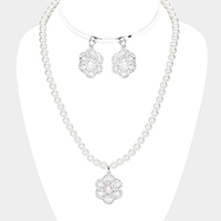 Crystal Pave Floral Pearl Pendant Necklace