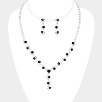 Glass Crystal Round Rhinestone Pave Y Necklace