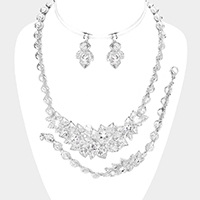 3PCS - Crystal Round Leaf Floral Evening Necklace Set