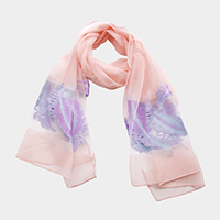 Feather Print Light Oblong Scarf