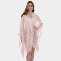 Heavy Lace Plain Color Topper Cover Up Poncho