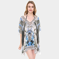 Mixed Print Rhinestone Studded Topper Cover Up Poncho