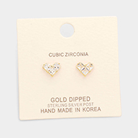 Gold Dipped Cubic Zirconia Heart Stud Earrings