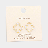 Gold Dipped Cubic Zirconia Clover Stud Earrings