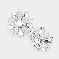 Pave Crystal Teardrop Floral Evening Clip On Earrings
