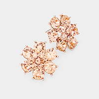 Crystal Round Floral Evening Stud Earrings