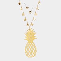 Cut Out Pineapple Metal Pendant Long Necklace
