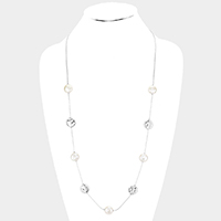 Mother Of Pearl Metal Round Long Necklace