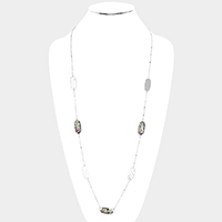 Abalone Oval Metal Station Long Necklace