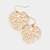 Brass Tropical Leaf Filigree Metal  Earrings