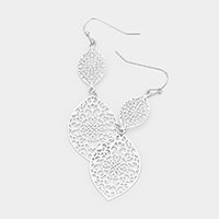 Oval Filigree Metal Dangle Earrings