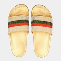 Color Block Crystal Pave Slide Sandal Slippers