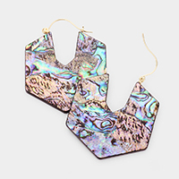 Hexagon Abalone Pin Catch Earrings