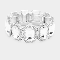 Pave Trim Emerald Cut Crystal Stretch Evening Bracelet