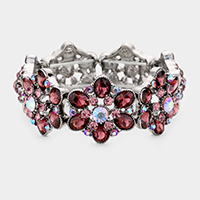 Crystal Oval Floral Stretch Evening Bracelet