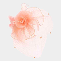 Flower Mesh Veil Feather Fascinator / Headband