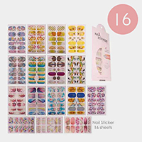 16 Sheets - Mixed Pattern Artificial Nail Stickers