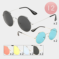 12PCS - Round Frame Fashion Sunglasses