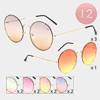 12PCS - Round Frame Gradient Sunglasses