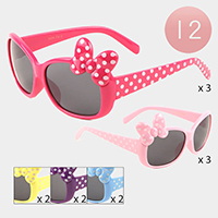 12PCS - Dotted Bow Square Sunglasses