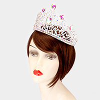 Crystal Teardrop Accented Crown Tiara